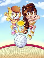 Volleyball gals (COLLAB) by FloofPuppy