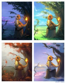 Pokemon -  Charmander Seasons by CharlottaBavholm