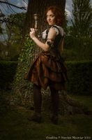 Leather and brocade underbust corset by Esaikha