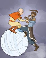 Aang giving Korra a hand by ksilver