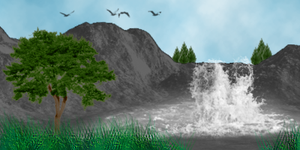 PS Brushes - Waterfall View by mediaklepto