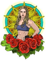 Ronda Rousey with Roses by PolkoCake