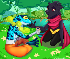 Rivals of Aether: Clairen and Ranno by lobaluna02