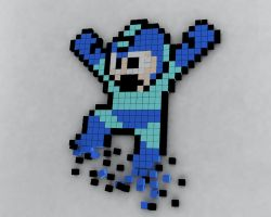 Megaman 3D made with cubes by jaruworks
