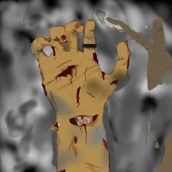 Zombie Hand in Smoke by TheArtistThomas