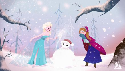 Elsanna and Snow Baymax by Coram85