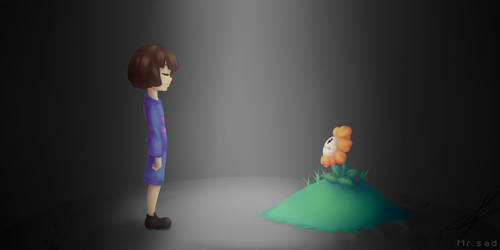 Frisk and Flowey by MisterSad