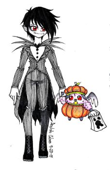 Drawtober 7- The Pumpkin King and His Pumpkin by Pixiepastel94