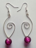 lilac glass pearls with silver wire earrings by syn-O-nyms