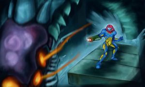 Samus vs. Serris-X by Delta-Hexagon