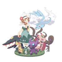 Commission: Trainer April and Alola Team