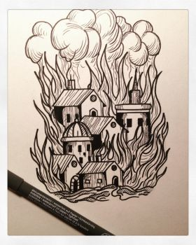 City fire by Farlatattoo