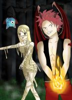 Lucy and Natsu Halloween costume by Luccia-chan