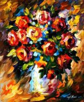Red Roses by Leonid Afremov by Leonidafremov