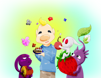 Louie with some Pikmin by Yumesky