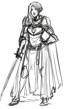 Lady knight sketch by PissedArtwork