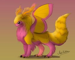 creature doodle #26 rosy maple moth dragon by ArtKitt-Creations