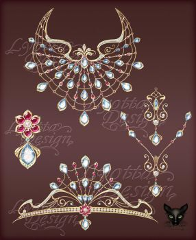 Jewelry DesignSet of gold necklace diadem pendants by Lyotta