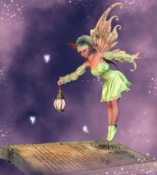 Fairy and book by LadyNightVamp