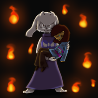 Undertale - Protect the child by Evildraws