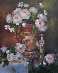 Peonies with Asian Figurines by Joyce Pike OPAM by OilPaintersofAmerica
