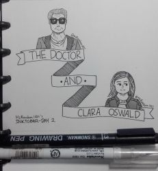 Inktober Day 2 - The Doctor And Clara Oswald by MsRandom1401