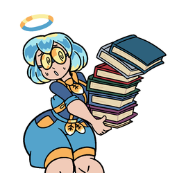 Angelic Bookworm 2 (Character Design Commission) by OolongEarlGrey