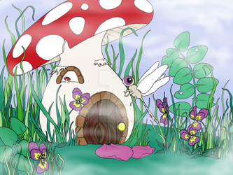 The Dragonfly and the Mushroom by Child-Of-Gaea