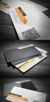 Orange Clean Corporate Business Card by calwincalwin