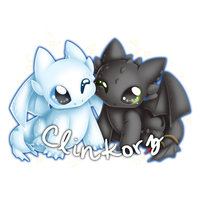 Toothless and Light Fury by Clinkorz