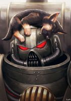 Commission - High Chaplain Grimaldus with a puppy by Lutherniel