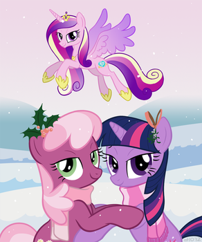 COMMISSION: Twilight, Cheerilee, and Cadance Xmas by empty-10
