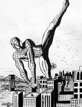 Spider-Man Swinging by Blackheart73191
