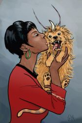Uhura with the unicorn dog by Devilry