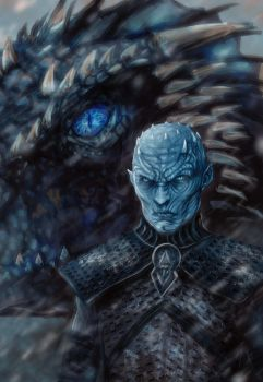 Night King and the Ice dragon2 by Grapiqkad