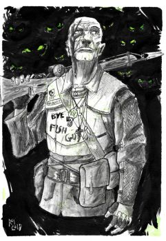 Weekly Sketches: Hunter of Deep Ones by Kmadden2004