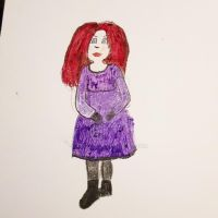 Quasi-goth girl in pencil and oil pastels