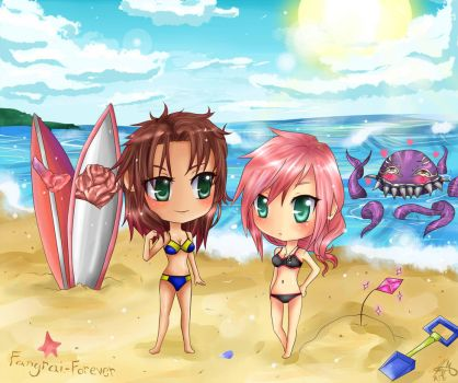 Fang and Lightning at the beach by HappySmileGear