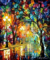 Stroll Under The Rain by Leonid Afremov by Leonidafremov