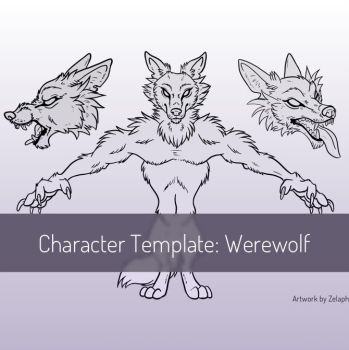 Character Design Template: Werewolf by Zelaphas