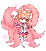 League of Legends - Star Guardian Ahri [Chibi] by eollynart