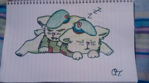 A pair of sleeping cubs (Fliqpy and Flippy) by KittenChen123