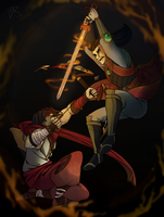 Sha Lin vs Zhin by angryraccoondraw