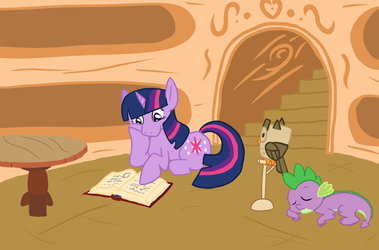 Deep in the Library by AurePeri