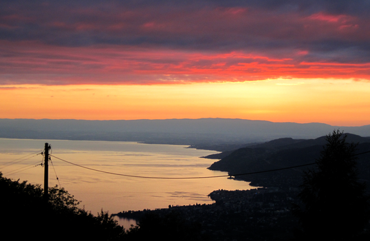 Sunset over Lake Geneva by LauraJeanDA