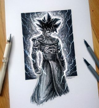 Songoku GOD Pen Drawing by AtomiccircuS