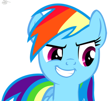 Rainbow Dash's Evil Smile (COLORED) by JustBronyM