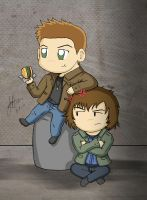Dean and Sam Winchester by redfield37