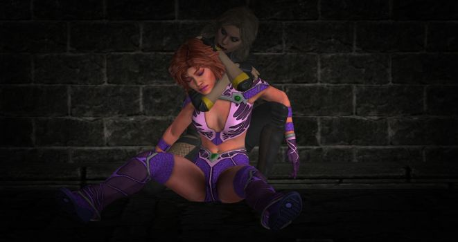Starfire Choked Out by Contract-Killas