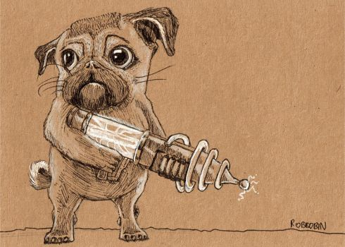 Pug with a Raygun by Robbobin